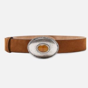 Zara leather belt with stone embellished buckle